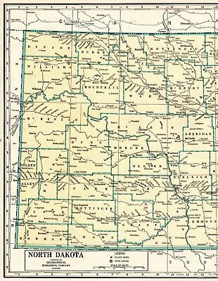 1946 NORTH DAKOTA Map Rare Poster Print Size Original Map of North Dakota State