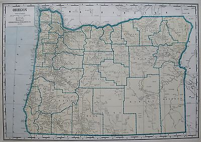 1946 Antique OREGON Map Rare Size Map of Oregon State Map 14 x 21