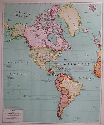 1946 Vintage WORLD Map WESTERN HEMISPHERE Map of the World Rare Size Print