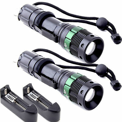 2X 2000 Lumen Zoomable CREE XM-L T6 LED Flashlight Torch Zoom Lamp Light Charger