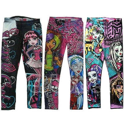 Monster High Printed  Kids Girls Childs Clothes Pants Childs Leggings Trousers