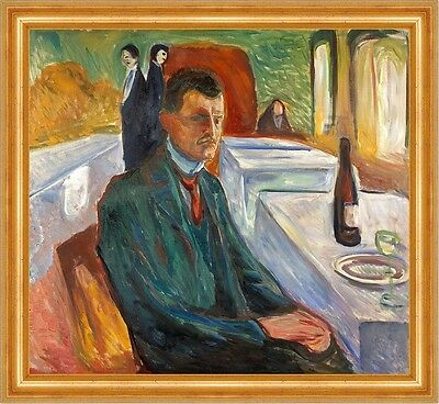 Self-Portrait with a Bottle of Wine Edvard Munch Wein Maler Glas B A3 01514
