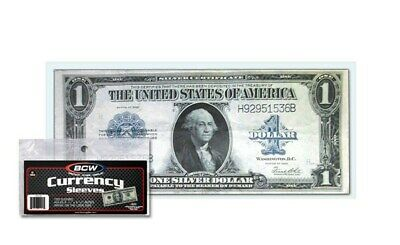 Pack of 100 BCW Large Bill Currency Soft 2-Mil Acid Free Poly Sleeves