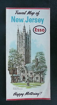 1962 New Jersey road map Esso oil Holder Hall Princeton University cover