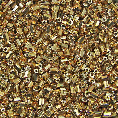 1KG 2 Cut Hexagon Shaped Gold Metallic Coloured Glass Beads Size 11/0 2mm