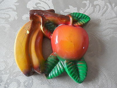 Vintage Banana with Apple Chalkware Wall Plaque