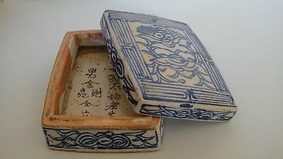 Antique Chinese Pottery Blue White Poems Hand Painted Porcelain Case Box & Lid