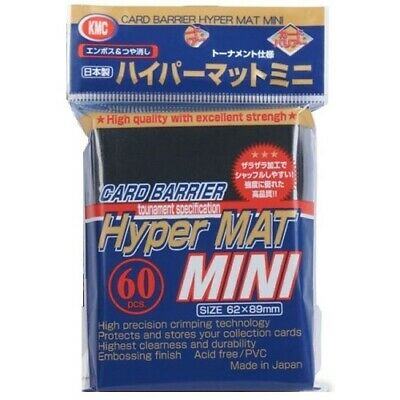 Kmc 60 Small Yugioh Card Barrier Sleeves Deck Protectors - Mini Hyper Mat Black
