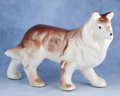 Vintage Ceramic 3 Inch Collie Dog Figurine Gloss Finish Made In Japan