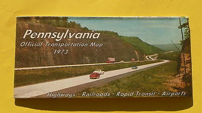1973 Pennsylvania official highway state road map mint