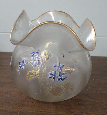 Antique French Enamel Flowers Cameo Art Glass Large Vase As Is Probably Daum