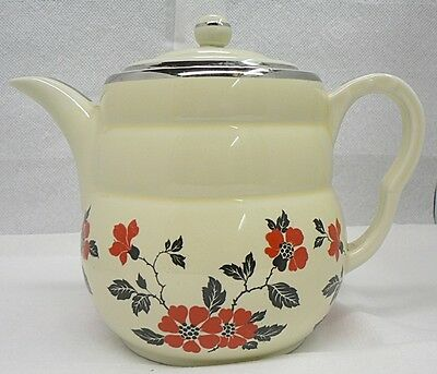 Hall Pottery Red Poppy Pattern Coffee Pitcher With Lid