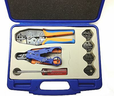 Professional Coax Coaxial Cable Tool Kit - Crimper Stripper Cutter RG58/59/62/6