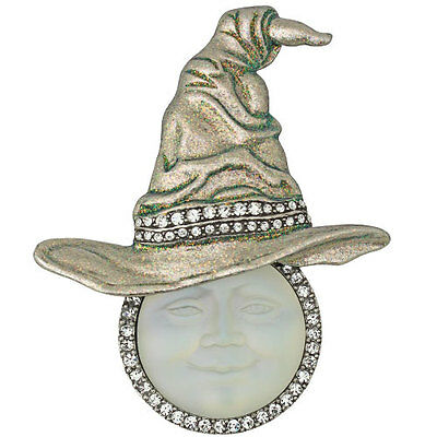 KIRKS FOLLY BEWITCHING SEAVIEW MOON WITCH HAT PIN / PENDANT NECKLACE silvertone