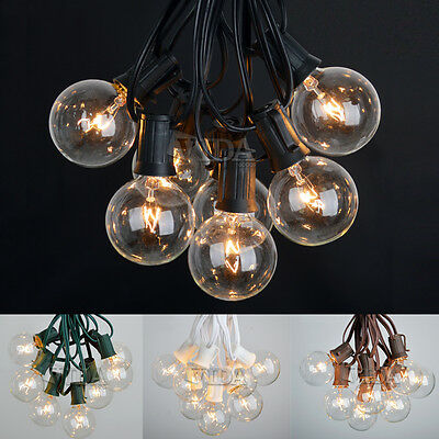 100 ft UL-Listed Outdoor Globe Patio String Lights 100 Sockets 125 Clear Bulbs