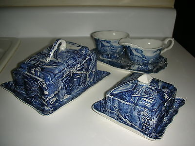 Old Foley Cheese Bell-Butter Dish-Sugar & Creamer w Under-Plate James Kent Blue