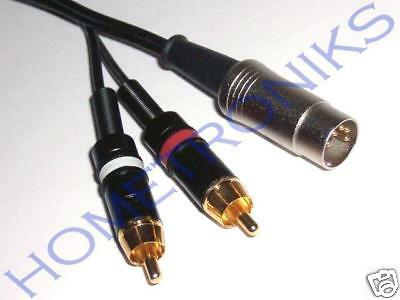 Audiophile Gold 5 Pin Din Plug To 2X Phono (Rca) Plugs Cable, Lead - 0.5 Metre