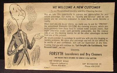 Forsyth Launderers & Dry Cleaners Welcome New Customer 1950s Vintage Ad Postcard