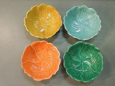 VINTAGE 4 PC SET MULTI COLORED MAJOLICA STYLE THREE FOOTED CABBAGE BOWLS BERRY