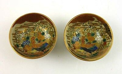 Vintage Lot 2 Japanese Old Satsuma Signed Small Mini Bowl Hand Painted GREAT