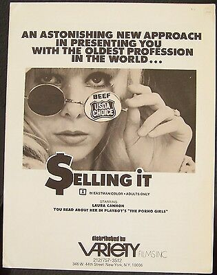SELLING IT Laura Cannon Prostitution 1972 RATED X ADULT Movie Pressbook
