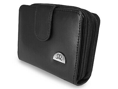 Ladies Purse Real Leather ladies Black Coin Purses 6 Cards BOXED QUENCHY QL330