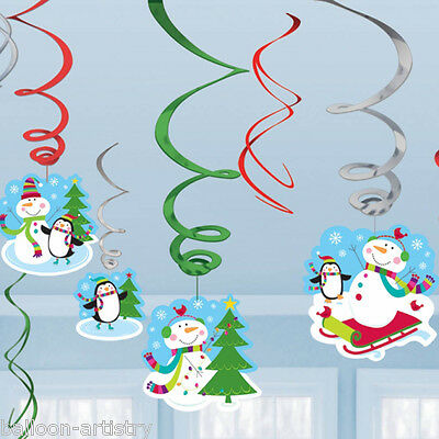 12 Assorted Christmas Cheer Happy Snowman Party Hanging Swirls Decorations