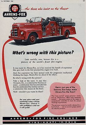NEWPORT KY   HAS AN AHRENS-FOX PUMPER    1952   AD