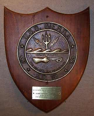 BRASS USS SIERRA AD-18 USN SHIP BADGE to CANADIAN NAVY RCN HMCS PERSERVER q764
