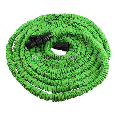 Deluxe 50 Feet 50FT Expandable Flexible Garden Lawn Water Hose Nozzle Green