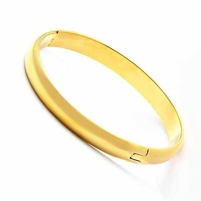 Classic Womens Smooth Bangle Bracelet Yellow Gold Filled Width 8mm D1087
