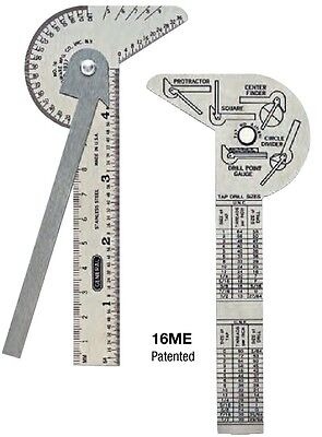 5 IN 1 Multi Purpose Pocket Ruler & Gauge, Center Finder General Tools #16ME