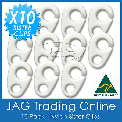 10 x NYLON SISTER CLIPS - Boat/Yacht/Sailing/Marine/Nautica/Flag/Pennant Staff