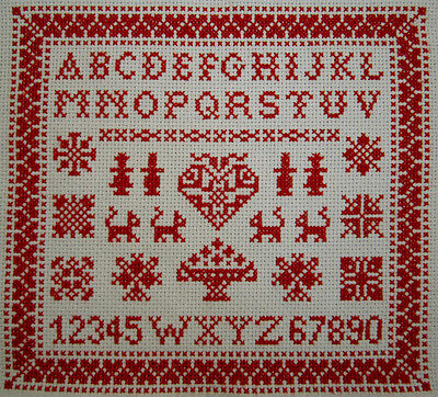SWEET! SMALL DUTCH COMPLETED RED ALPHABET CROSS STITCH SAMPLER