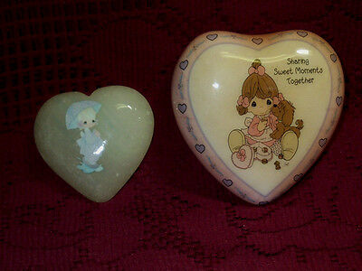 1987 Precious Moments April Heart Paper Weight & Magnet Sharing Moments Set
