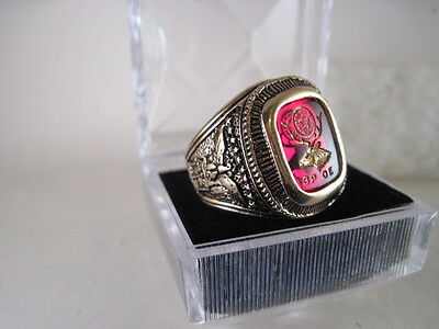 BPOE  crest ring open back  size  11  red stone   (59  1)