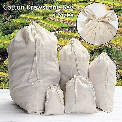 Strong Cotton Stuff Storage Rope Drawstring Duffle Laundry Tidy Travel Carry Bag