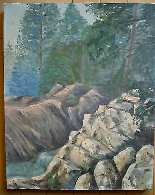 MYSTERY IMPRESSIONIST MOUNTAIN LANDSCAPE RIVER PLEIN AIR CALIFORNIA OIL BestOFFr