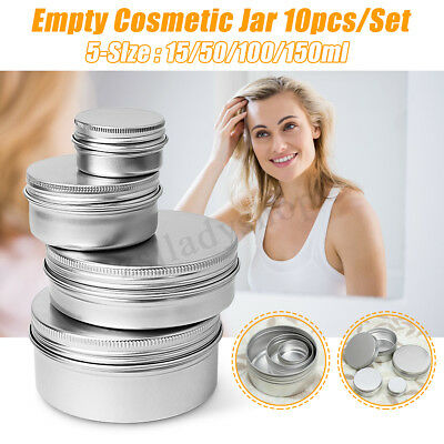 15/50/100/150ml Empty Cosmetic Cream Jar Alloy Tin Container Screw Travel-Size