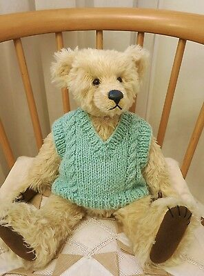 "♥ TEDDY CLOTHES ♥ new hand knitted tank top to suit a 15"" bear"