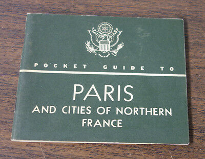 Post WWII Pocket Guide To Paris France War Dept For Military Personnel