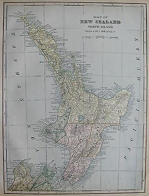 1901 Antique NEW ZEALAND North Island  Map  Beautiful Vintage Map