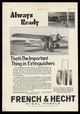 1930 Fyr Fyter airport fire extinguisher photo French & Hecht wheels trade ad