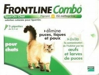Merial - Chats - FRONTLINE COMBO - Chat - 3pip - Anti-puce, anti-tique  NEUF