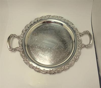 Oneida Silver Plate repousse Round Serving Tray w/ Handles Tea Party 19x15
