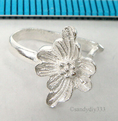 1x STERLING SILVER BRIGHT FLOWER PENDANT BAIL PINCH CLASP #1751