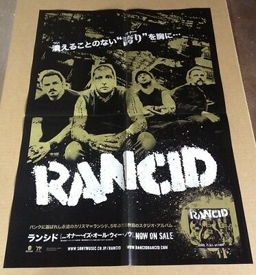 2014 Rancid Honor is All We Know JAPAN album promo poster ad / punk r10pld