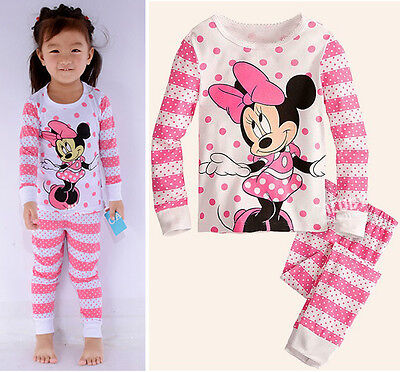 Baby Girls Kids Children Clothing Set Pajamas Sleepwear Top Pants Nightwear Pink