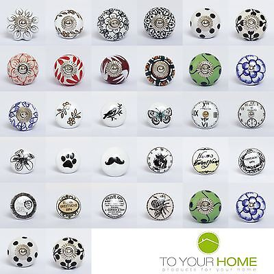 Vintage Mix and Match Ceramic Door Knobs Handles Furniture Drawer Pulls Cupboard