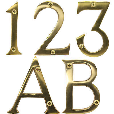 "SOLID BRASS DOOR NUMBERS WITH SCREWS 3""/75mm Large Hotel/B&B/Stay/Room/Classic"